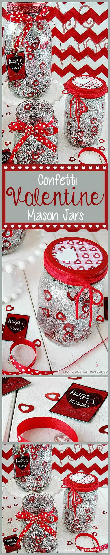 33 Silver Valentine Jars With Glitter and Confetti