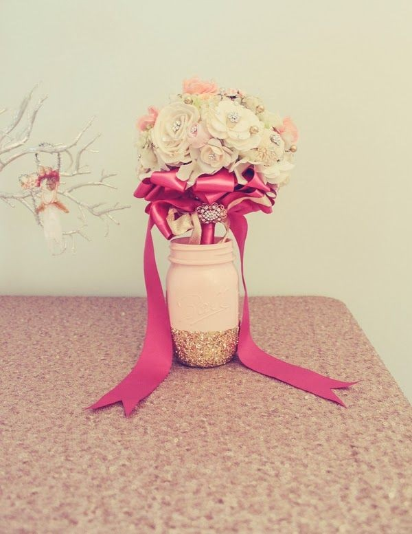34  Pink Mason Jar Vases with Glitter Bottom and Brooch Bouquet