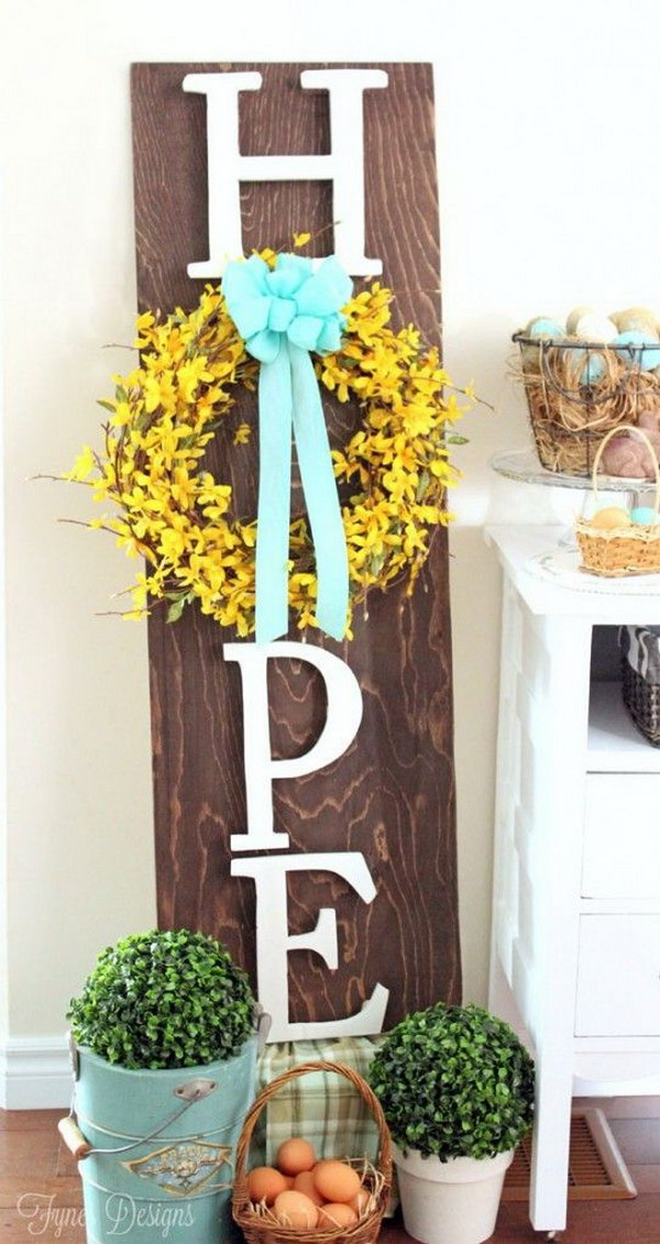 34 Wooden Hope Easter Wreath Sign