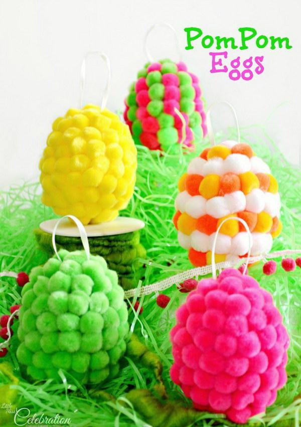 35 DIY Pompom Easter Eggs
