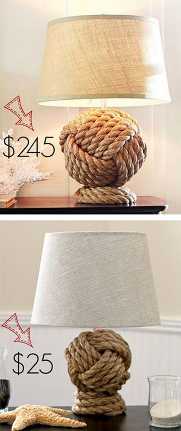 36 Pottery Barn Knockoff Rope Knot Lamp