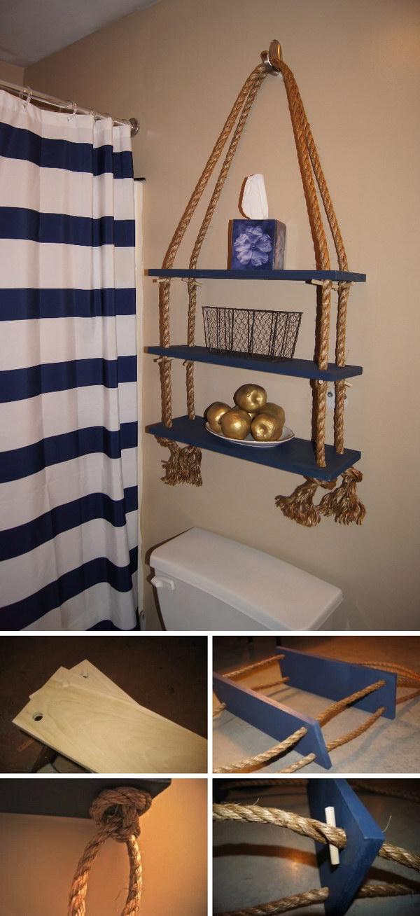 37 DIY Nautical Rope Shelf