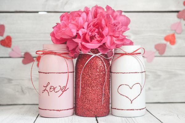 37 Valentine Day Glitter Mason Jars