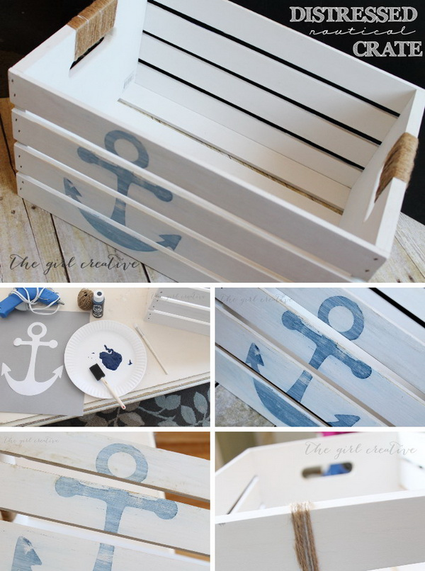 38 DIY Distressed Nautical Crate Tutorial