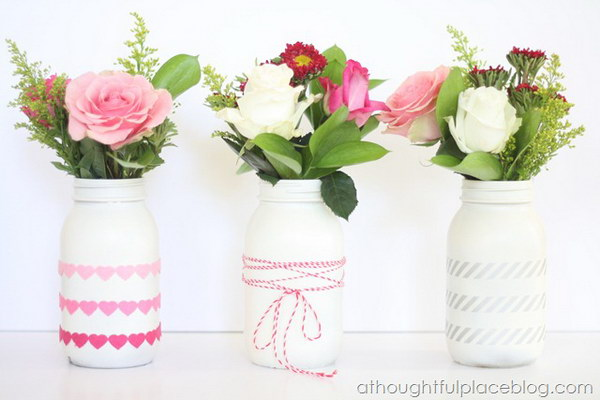 38 White Mason Jar Vases with Hearts Garlands Twine and Silver Stripes Tapes Decor