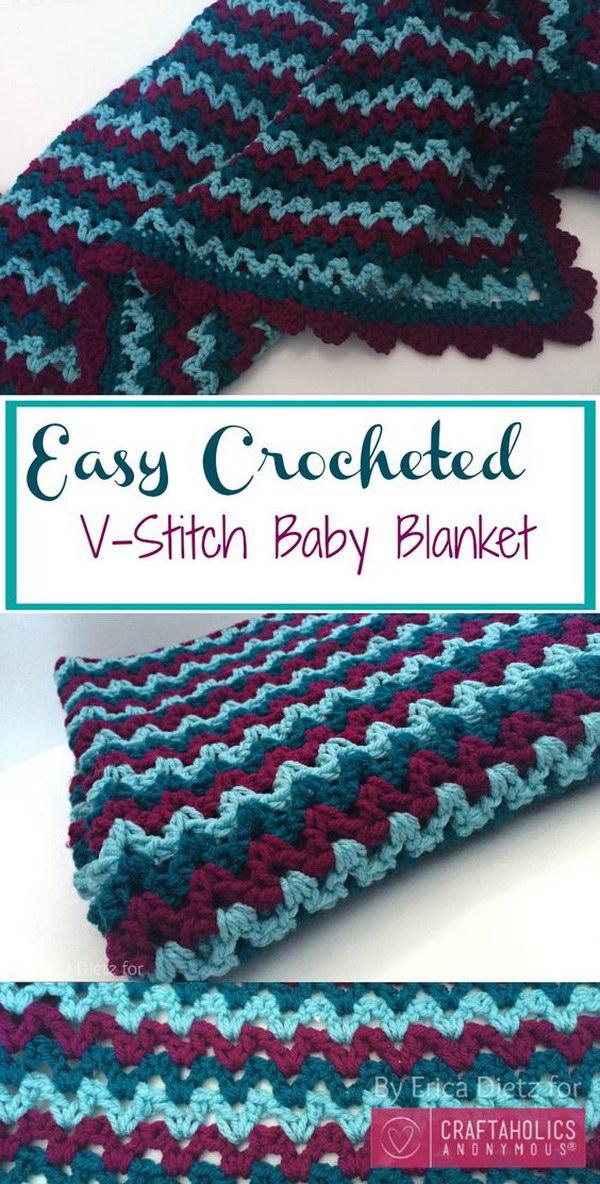 4 Crochet V-Stitch Baby Blanket