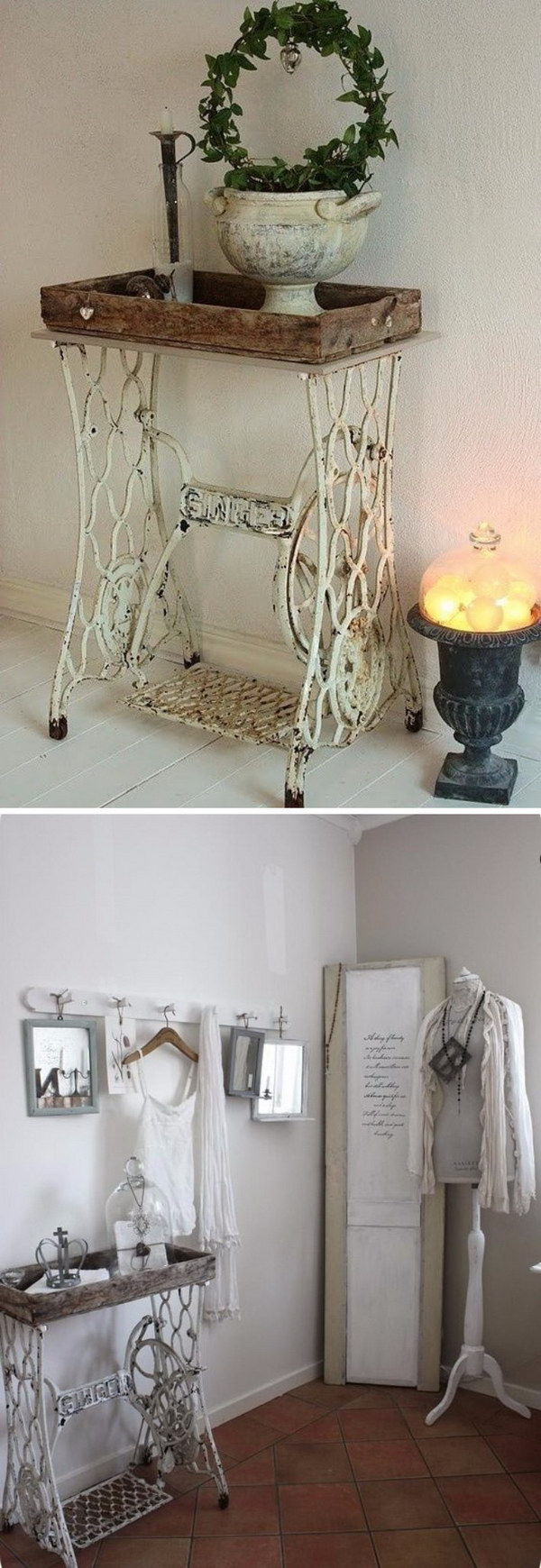 4 Shabby Chic Singer Sewing Machine Table