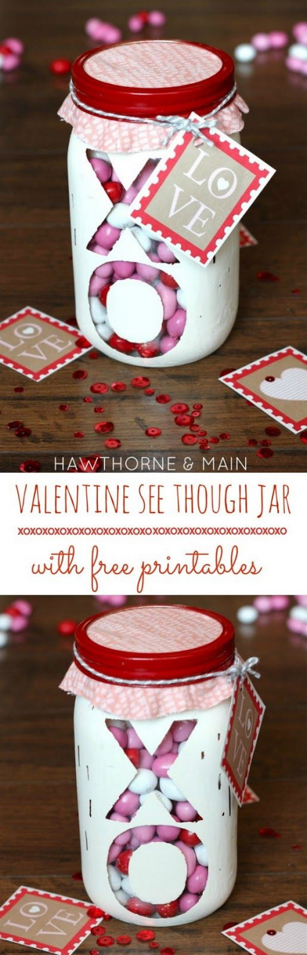 4 Valentine's Day See Through XO Jar with Free Printable