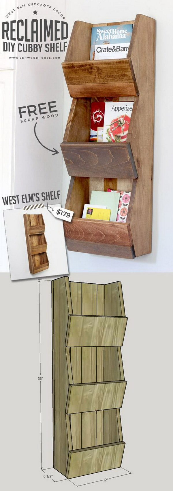 4 West Elm Knockoff Reclaimed Cubby Shelf