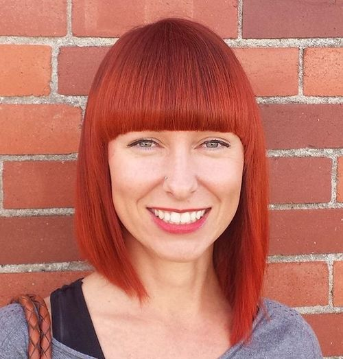 4 red asymmetrical bob with straight bangs