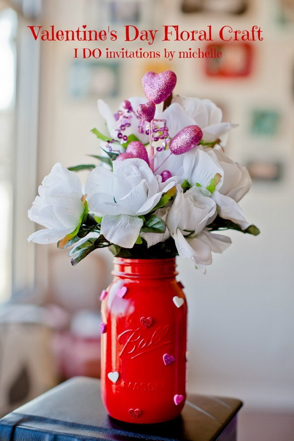 42  Big Mason Jar Vases with Glitter Heart Stickers