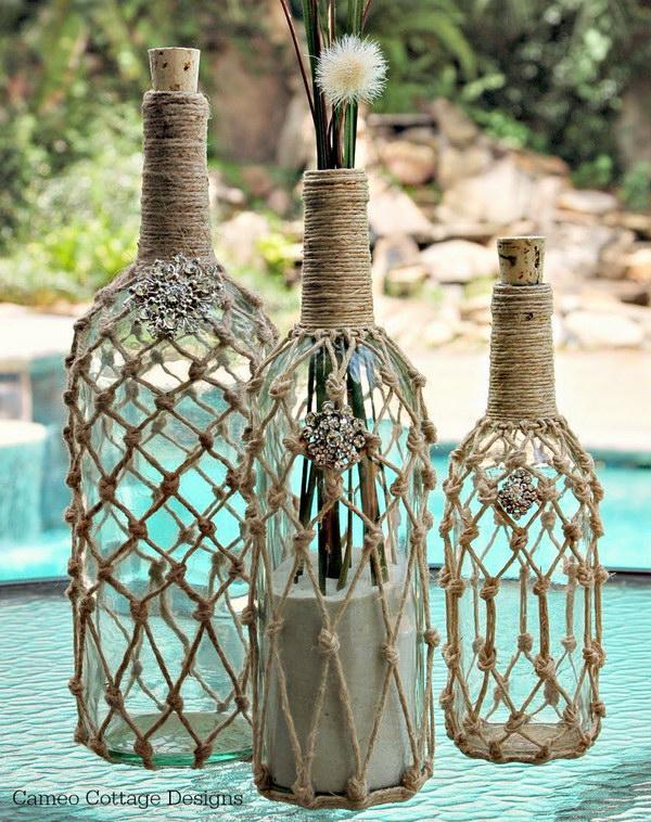 42 DIY Knotted Jute Net Bottles