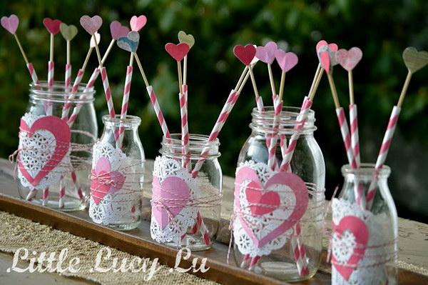 44 Valentine Mason Jar Centerpiece