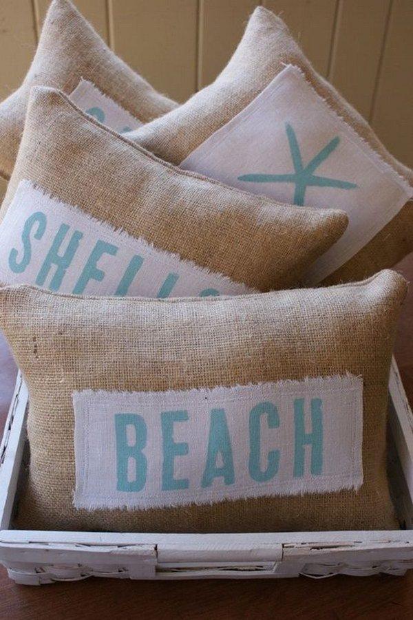 45 DIY Beachy Themed Pillows