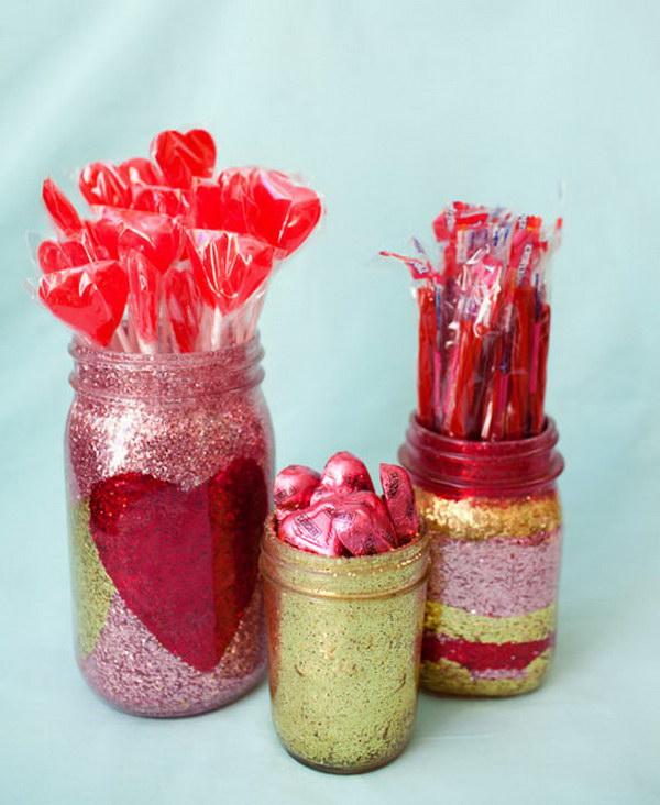45 Glitter Heart and Stripes Mason Jar