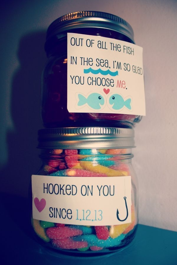 """48 """"Hooked on You"""" Candy Jars Boyfriend Gift"""