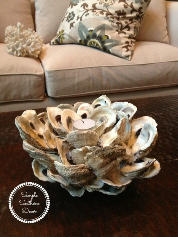 48 DIY Oyster Shell Candle Holder