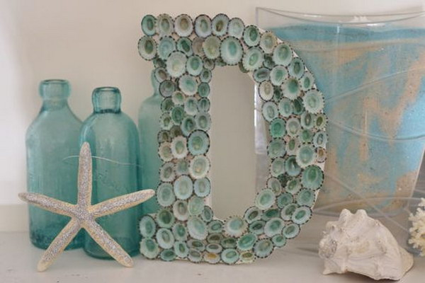 49 Aqua Seashell Letter Monogram