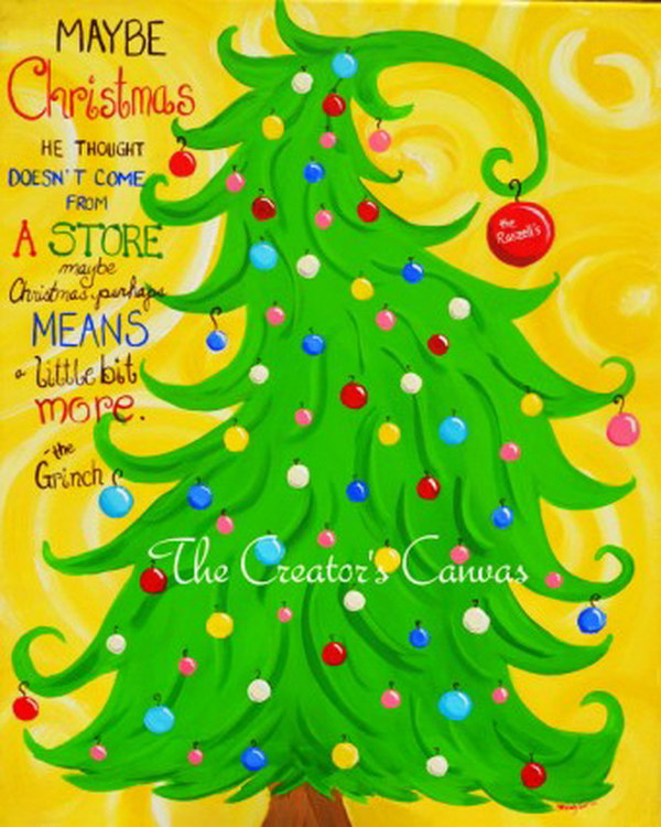 5 Christmas Grinch Hand Painted Canvas