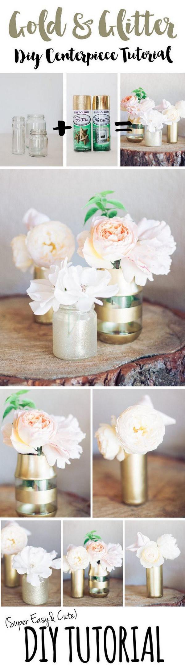 5 DIY Gold Glitter Bottle Vase