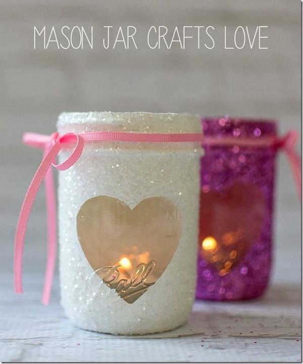 5 Glittered Valentine鈥檚 Day  Heart Mason Jar