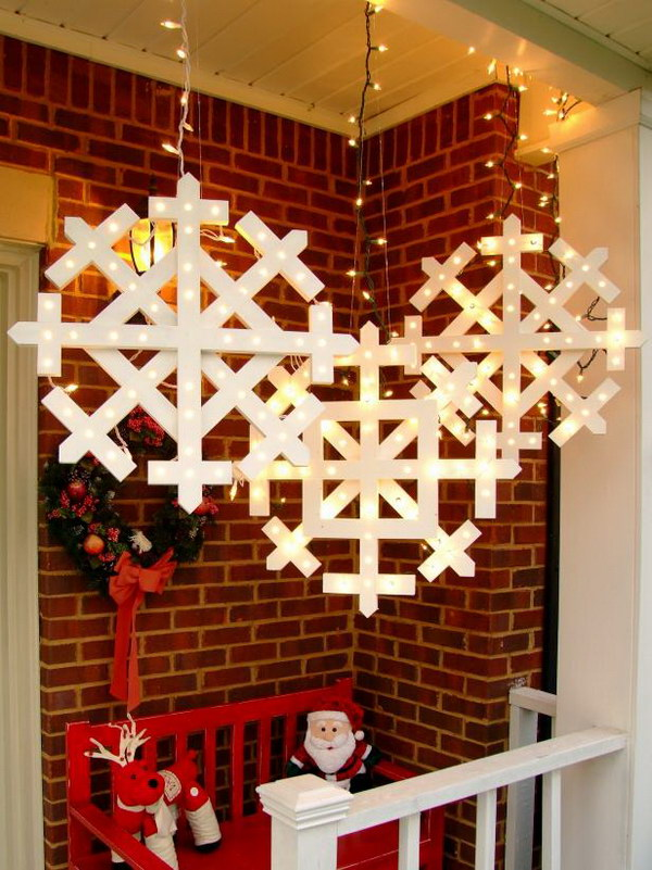 5 Wooden Snowflakes with Lights Tutorial
