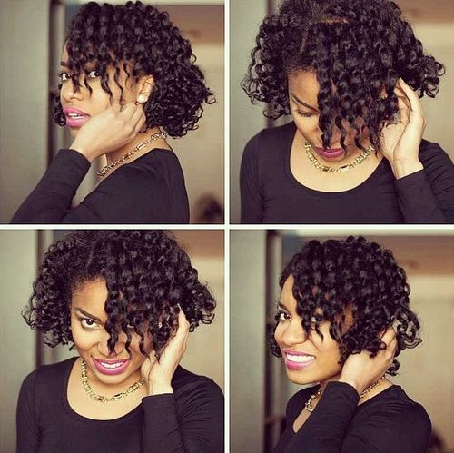 5 side parted curly hairstyle for black women