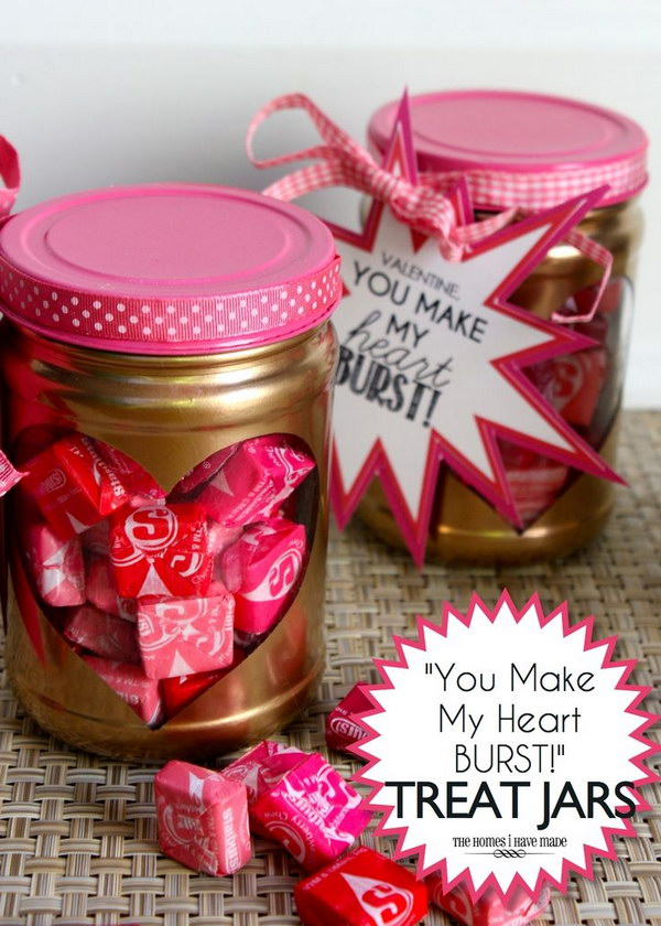 "53 ""You Make My Heart Burst!"" Valentine Treat Jars"