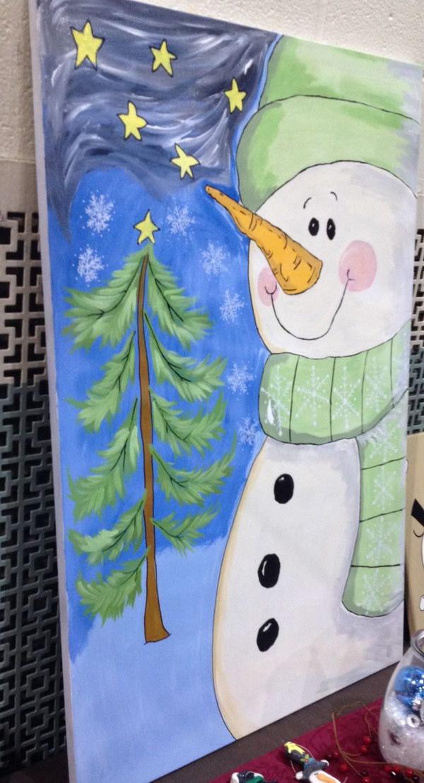 6 Cute Snowman Canvas Painting