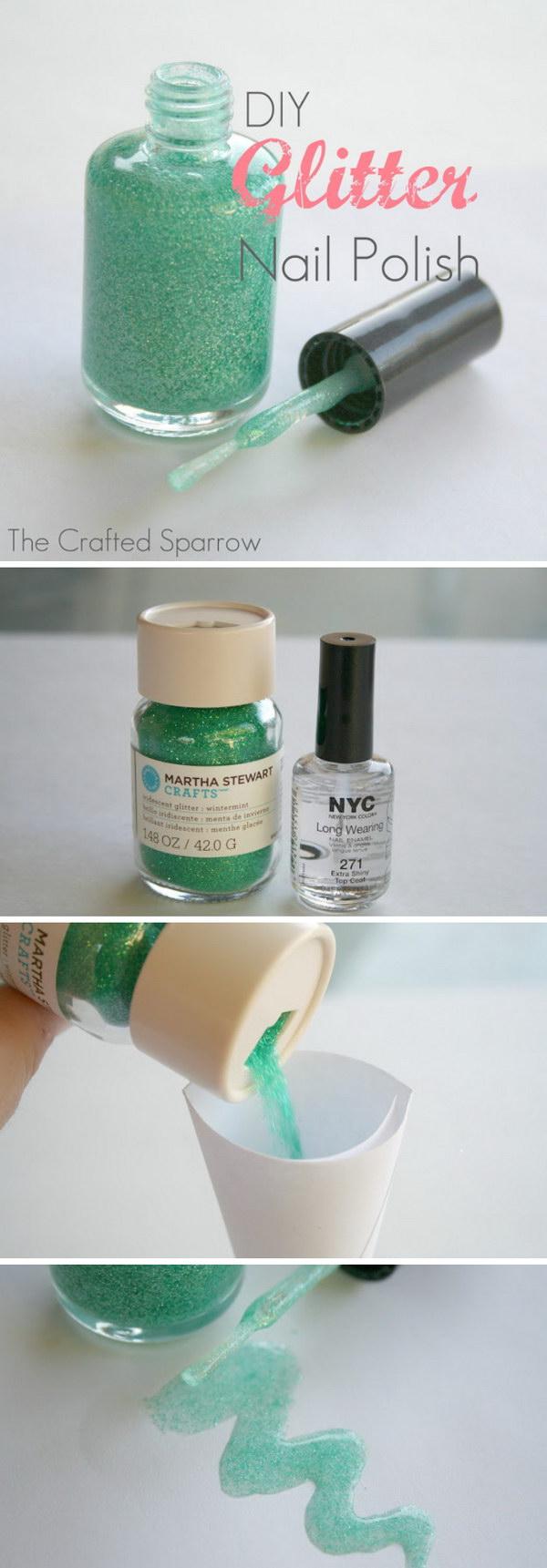 6 DIY Glitter Nail Polish