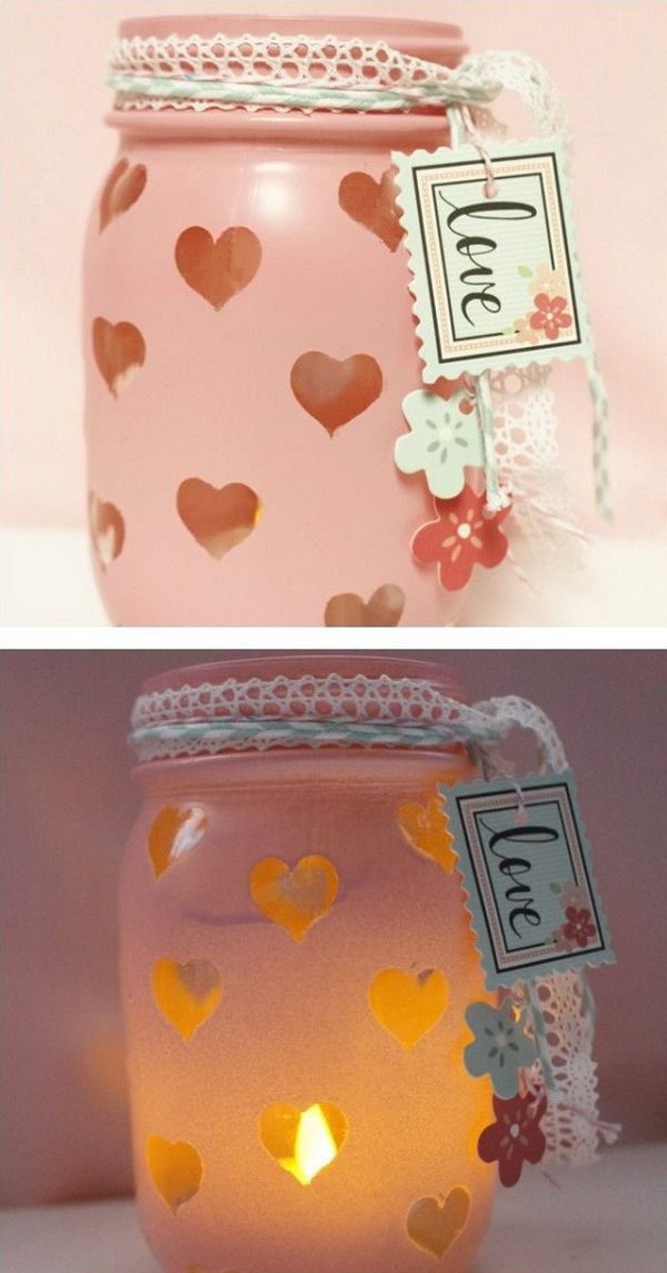 6 Easy DIY Valentine's Day Mason Jar Votive