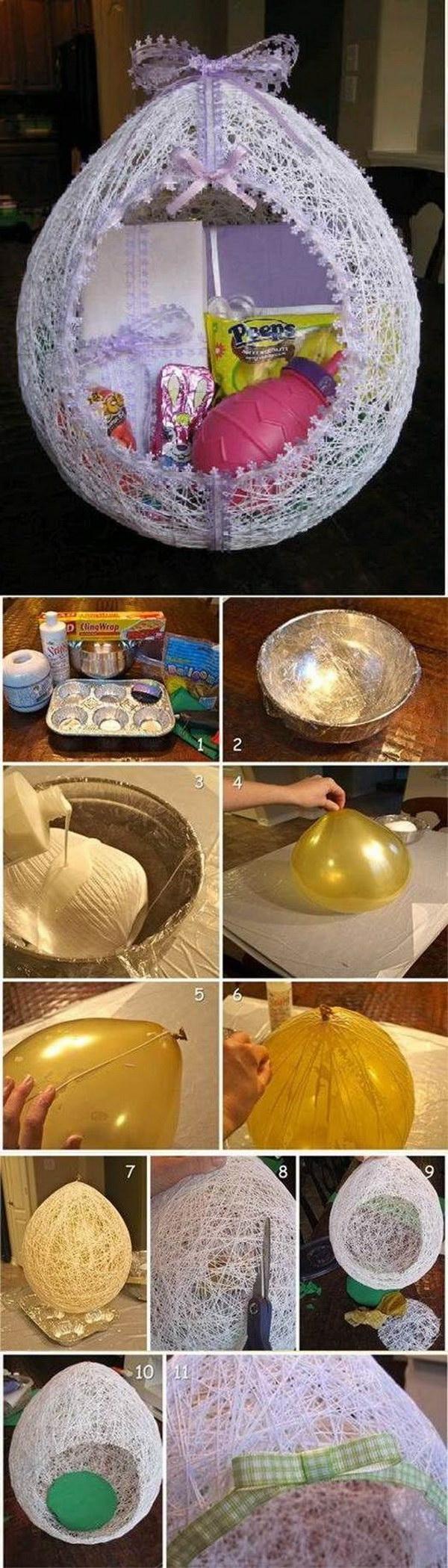 6 Egg Shaped Easter Basket From String