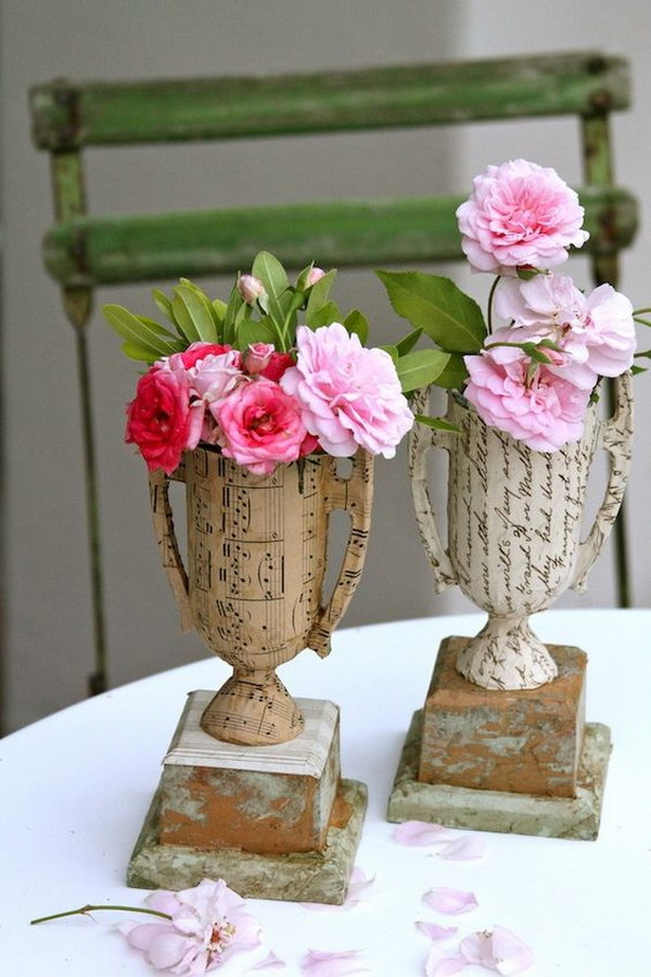 7 DIY Vintage Sheet Music And Book Page Vase From Plastic Trophies