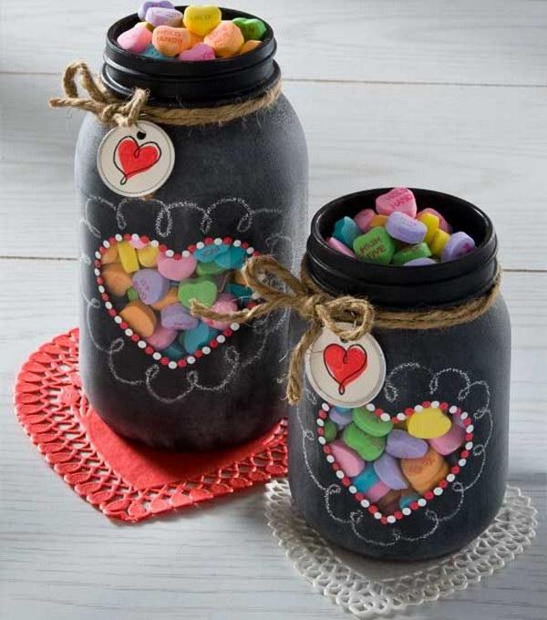 7 Valentine's Gift in Chalkboard Spray Paint Mason Jar