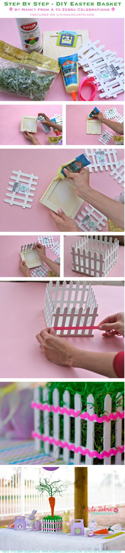 8 DIY Easter Picket Fence Basket Centerpiece