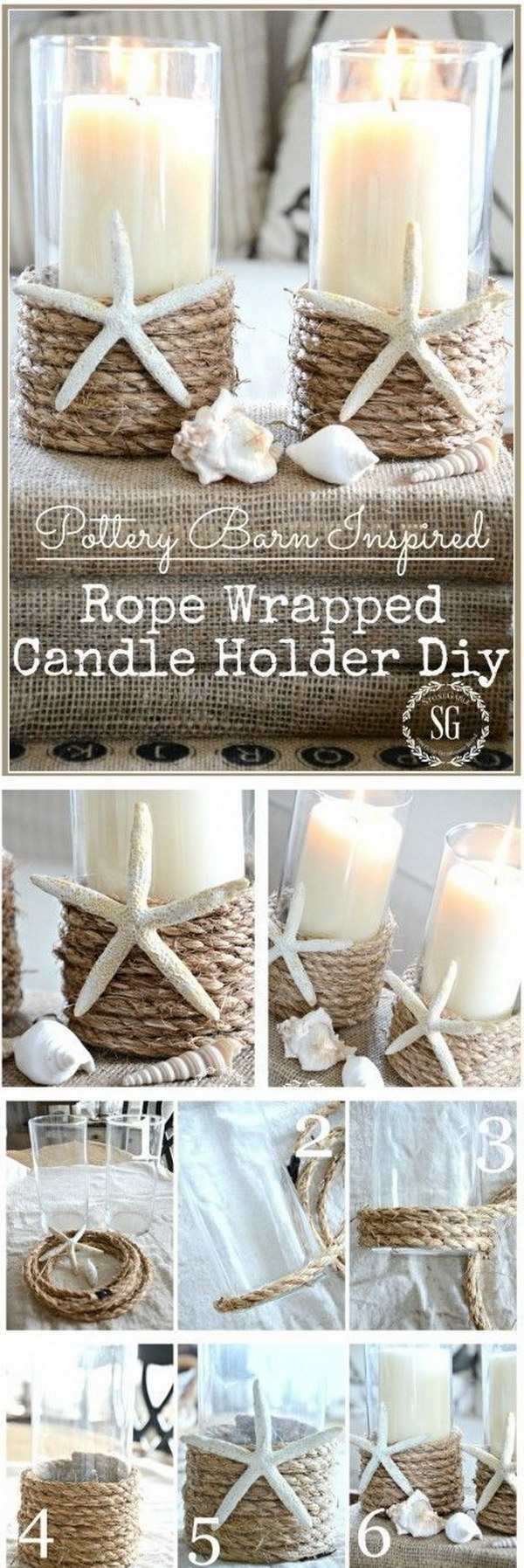 8 DIY Rope Wrapped Candle Holder