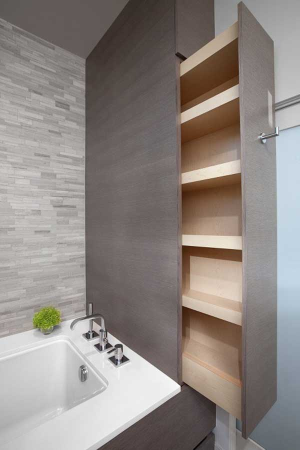 8 Hidden Slide-out Pantry In the Bathroom
