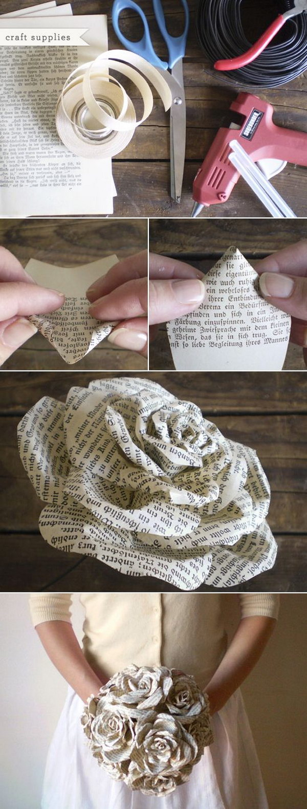 8 Recycled Book Paper Roses Bouquet