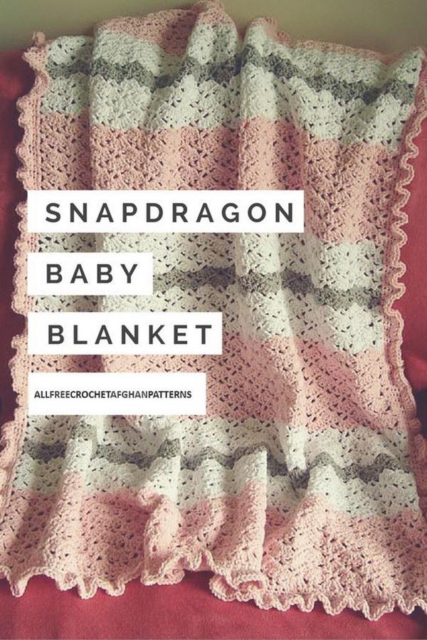 8 Snapdragon Crocheted Baby Blanket