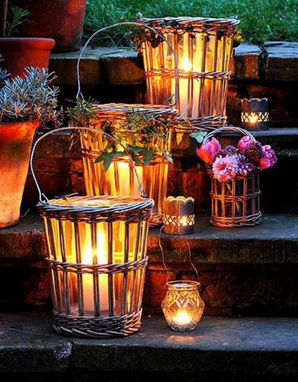 8 Wicker Lanterns