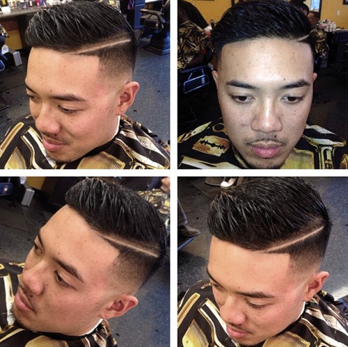 8 fade haircut with a shaved side part
