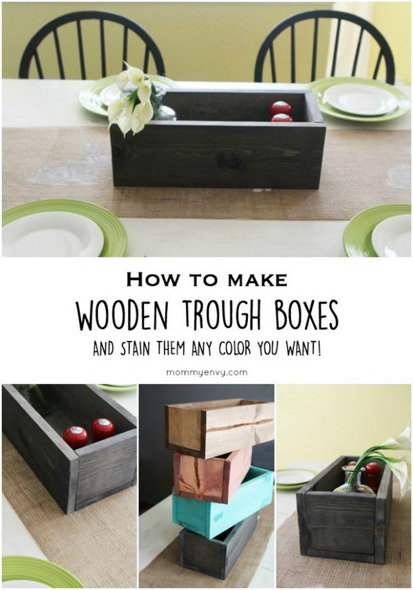 9 DIY Stained Wooden Trough Boxes