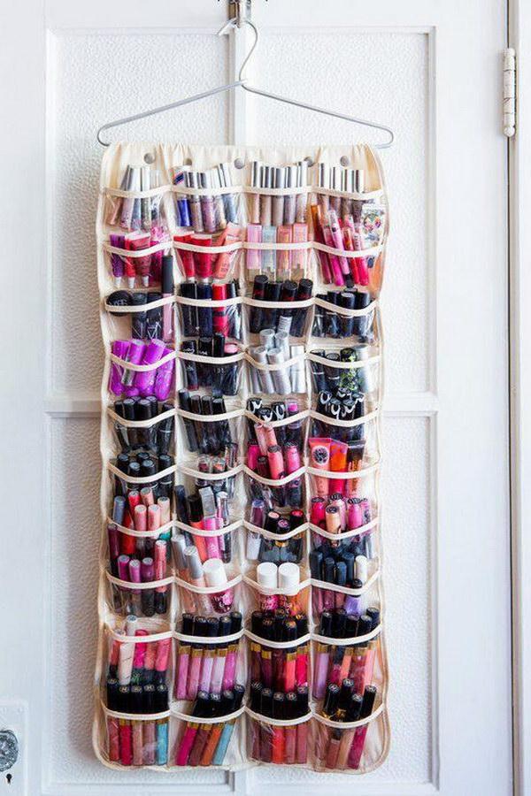9 Makeups Storage with a Shoe Organizer
