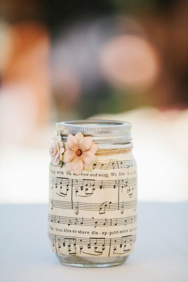 9 Romantic Music Sheet Covered Mason Jar