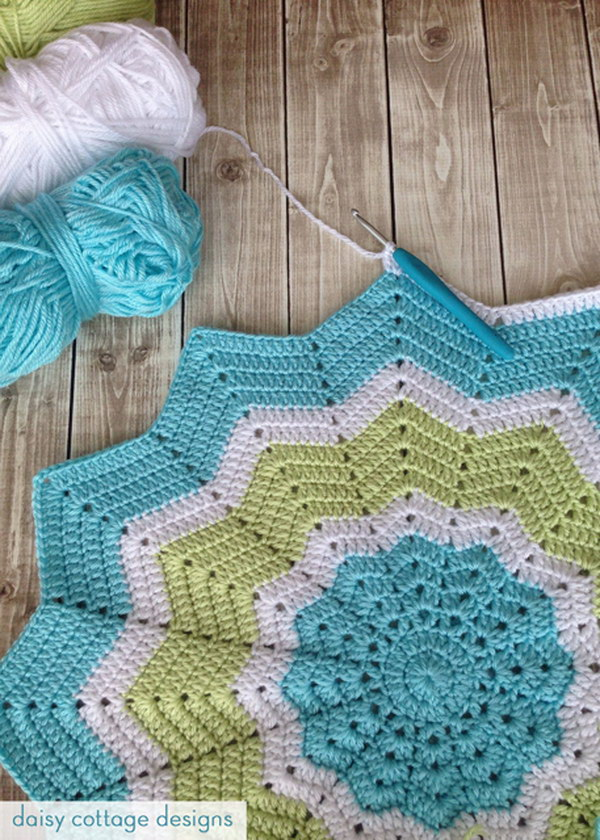 9 Turquoise and Lime Crochet Star Baby Blanket