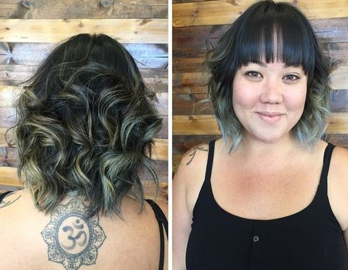 9 black ombre hair with bangs