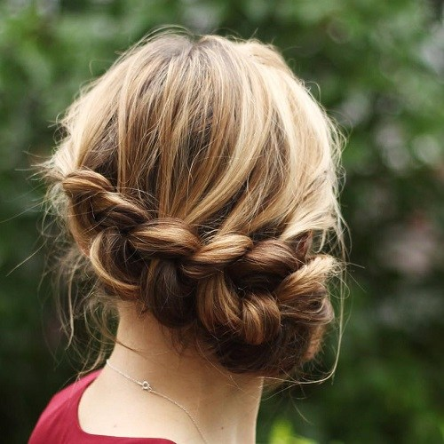 9 messy low braided updo