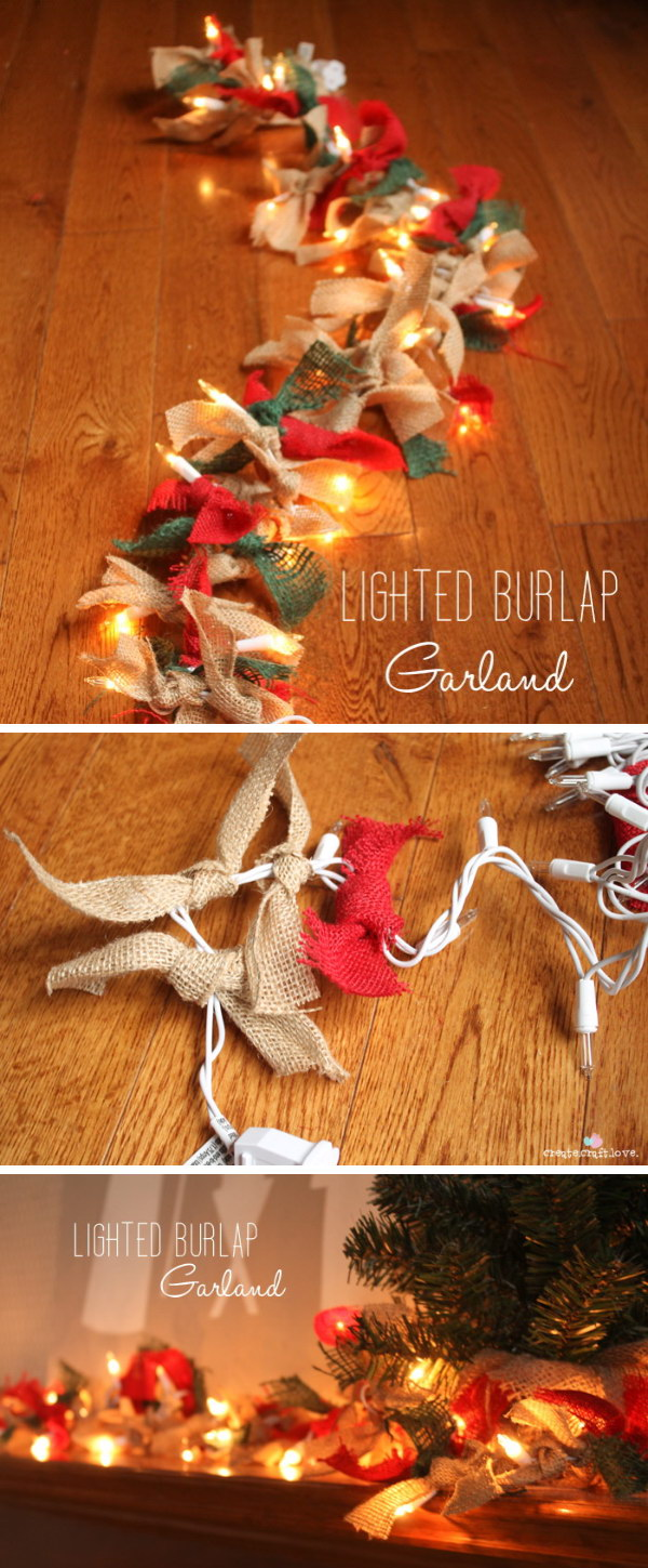 1 Lighted Burlap Garland