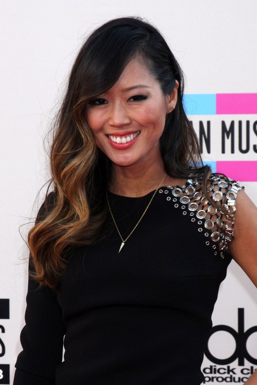1 one side pinned asian downdo with soft ombre waves