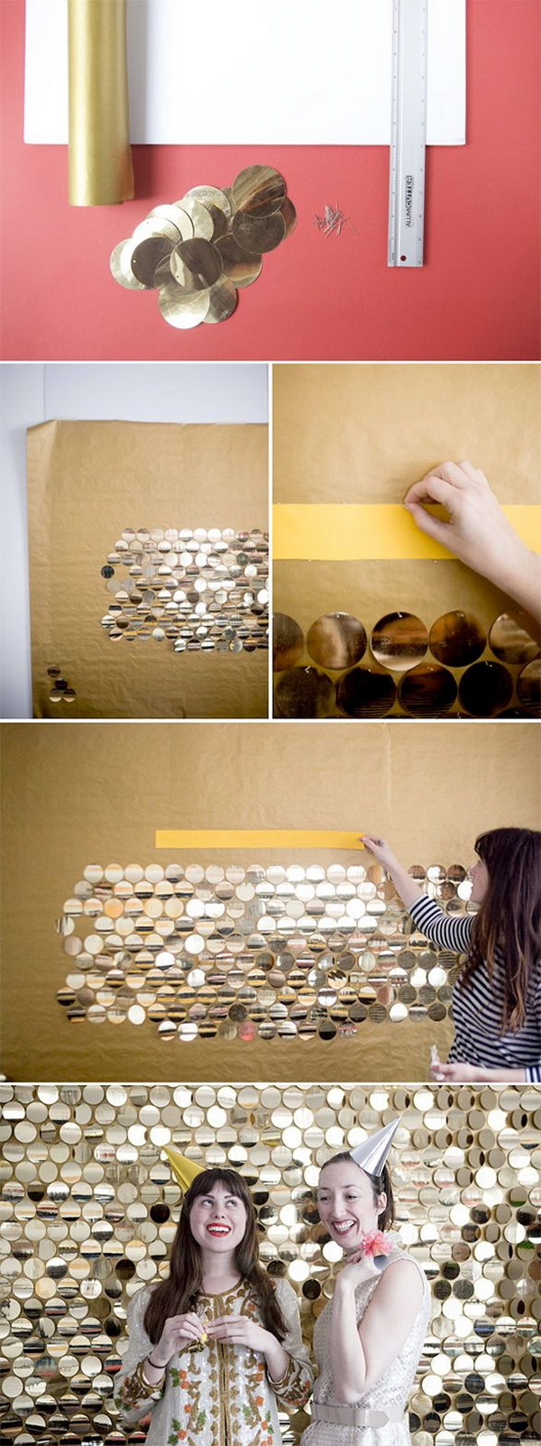 12 DIY Sequin Backdrop Made out of Large Gold Pailletes